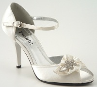 Ivory Satin Wedding Shoes with Diamante Trim