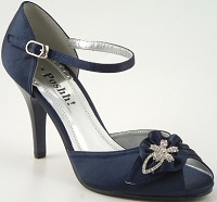 Navy Satin Occasion Shoes with Diamante Trim