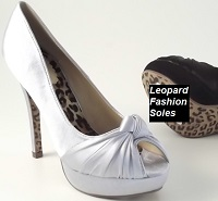 Silver Satin Leopard Sole Evening Bridesmaid Shoes