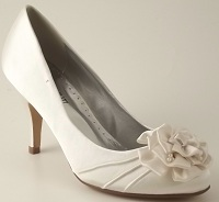 Ivory Satin Wedding Shoes with Satin Trim