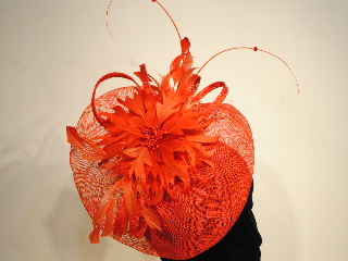 CP2 - Red - feather flower - fascinator