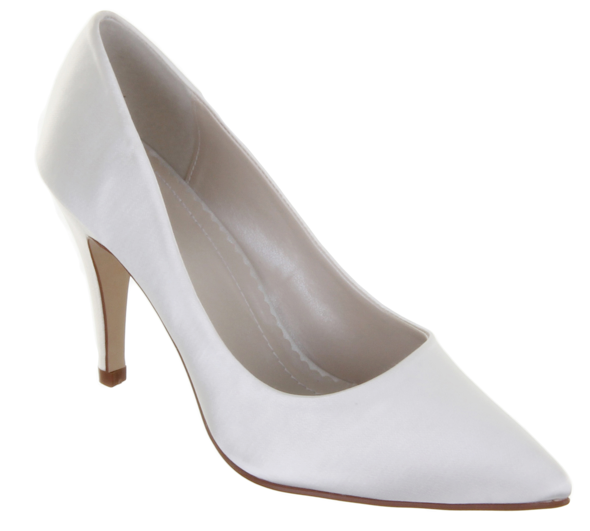 Ivory Satin Wedding Shoes With Front Strap
