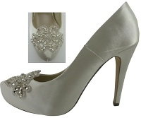 Ivory Satin Platform Shoes with Crystal Trim