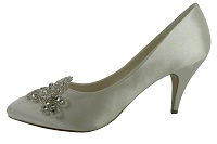 Ivory Satin Shoes with Stunning Crystal Trim