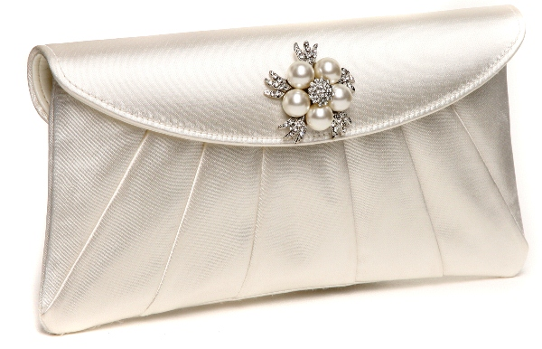 Ivory Satin Clutch Bag - Leather Travel Bags
