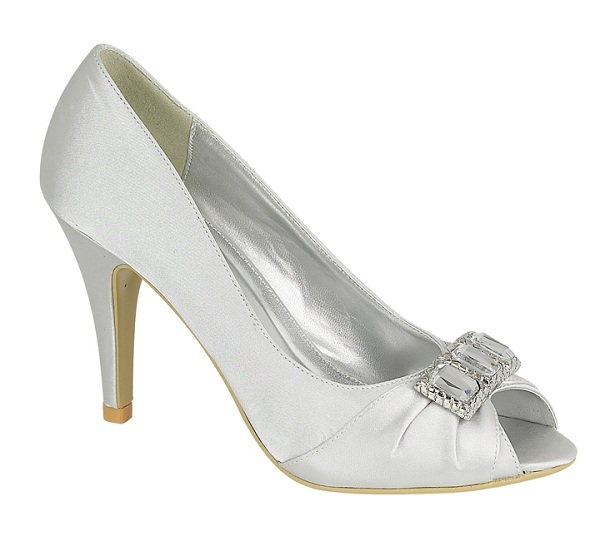 S30114 Silver Satin Shoes With Diamante Trim Wedding Shoes By