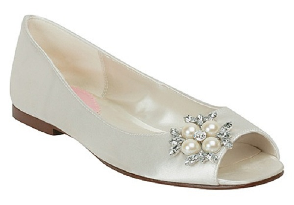 Paradox Pink Flower Flat Ivory Bridal Shoes