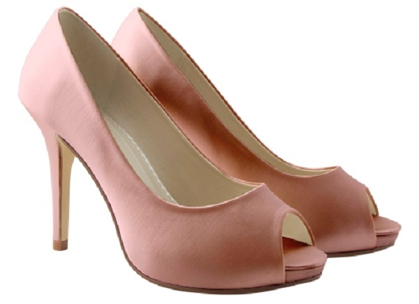baby pink satin peep toe occasion shoes wedding shoes by