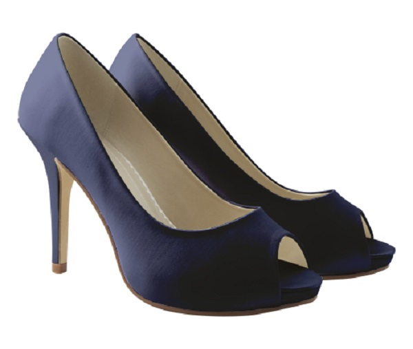 navy high heel satin occasion shoes wedding shoes by