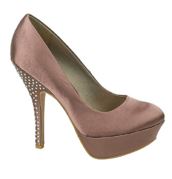 Brown Satin Platform Shoes Diamante Heels