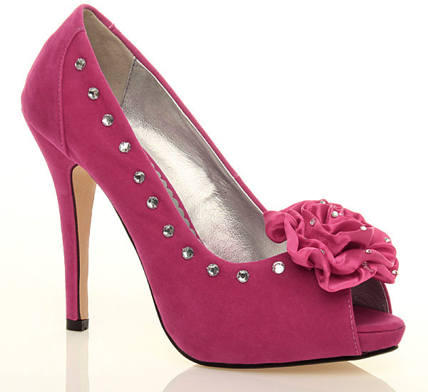 Fuchsia Rose Trim Diamante Shoes with heel height 115 cm 45 Inch